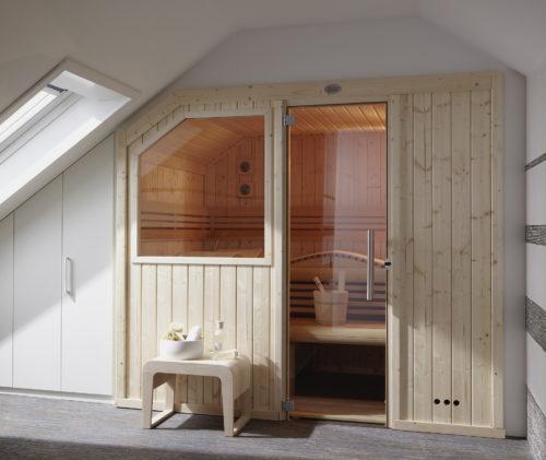 Dachschräge Sauna