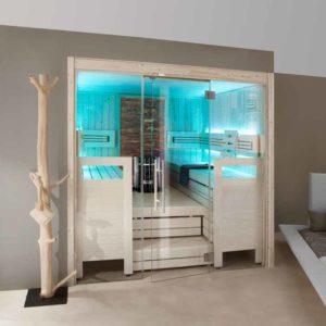 Helo Sauna mit Ganzglasfront